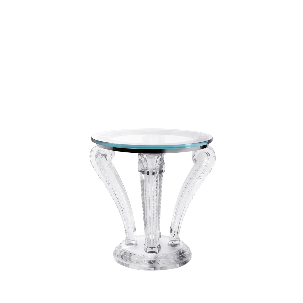 Marsan pedestal table | Clear crystal | Interior Design Lalique