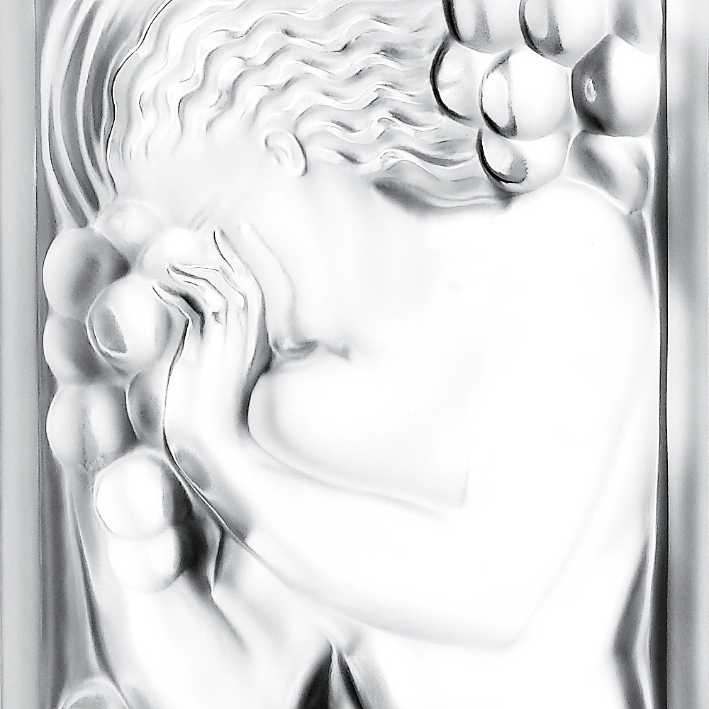 Figurine et Raisins decorative panel | Clear crystal | Interior Design Lalique