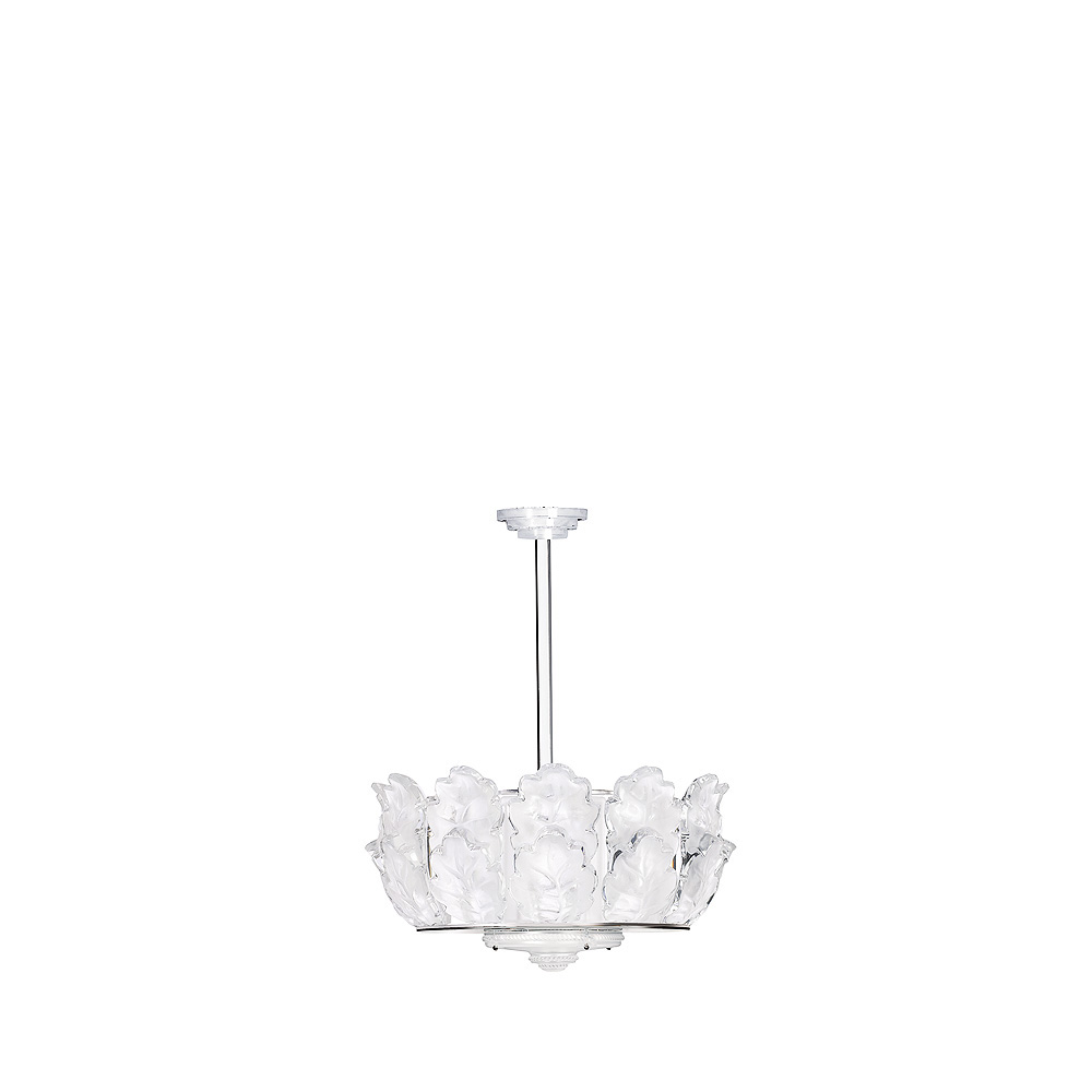 Chêne chandelier | Clear crystal, chrome finish, large size | Interior Design Lalique