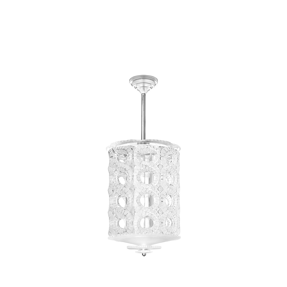 Séville chandelier | Clear crystal, chrome finish, medium size | Interior Design Lalique