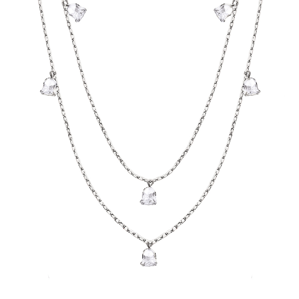Muguet long necklace | 12 clear crystals, silver | Costume jewellery Lalique