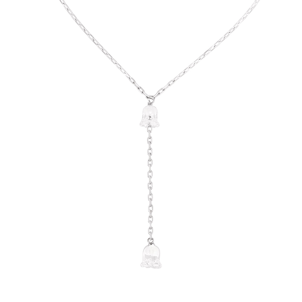 Muguet necklace | 2 clear crystals, silver | Costume jewellery Lalique