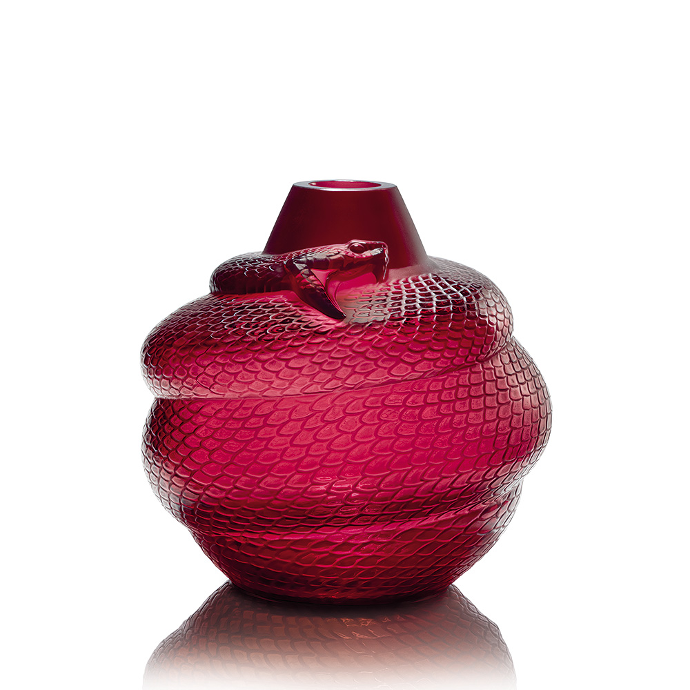 Serpent vase | Red crystal | Vase Lalique