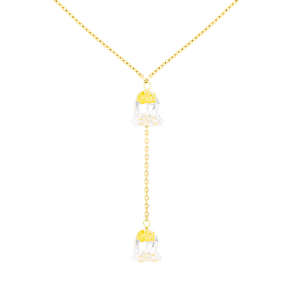 Muguet necklace | 2 clear crystals, yellow gold | Fine jewellery Lalique