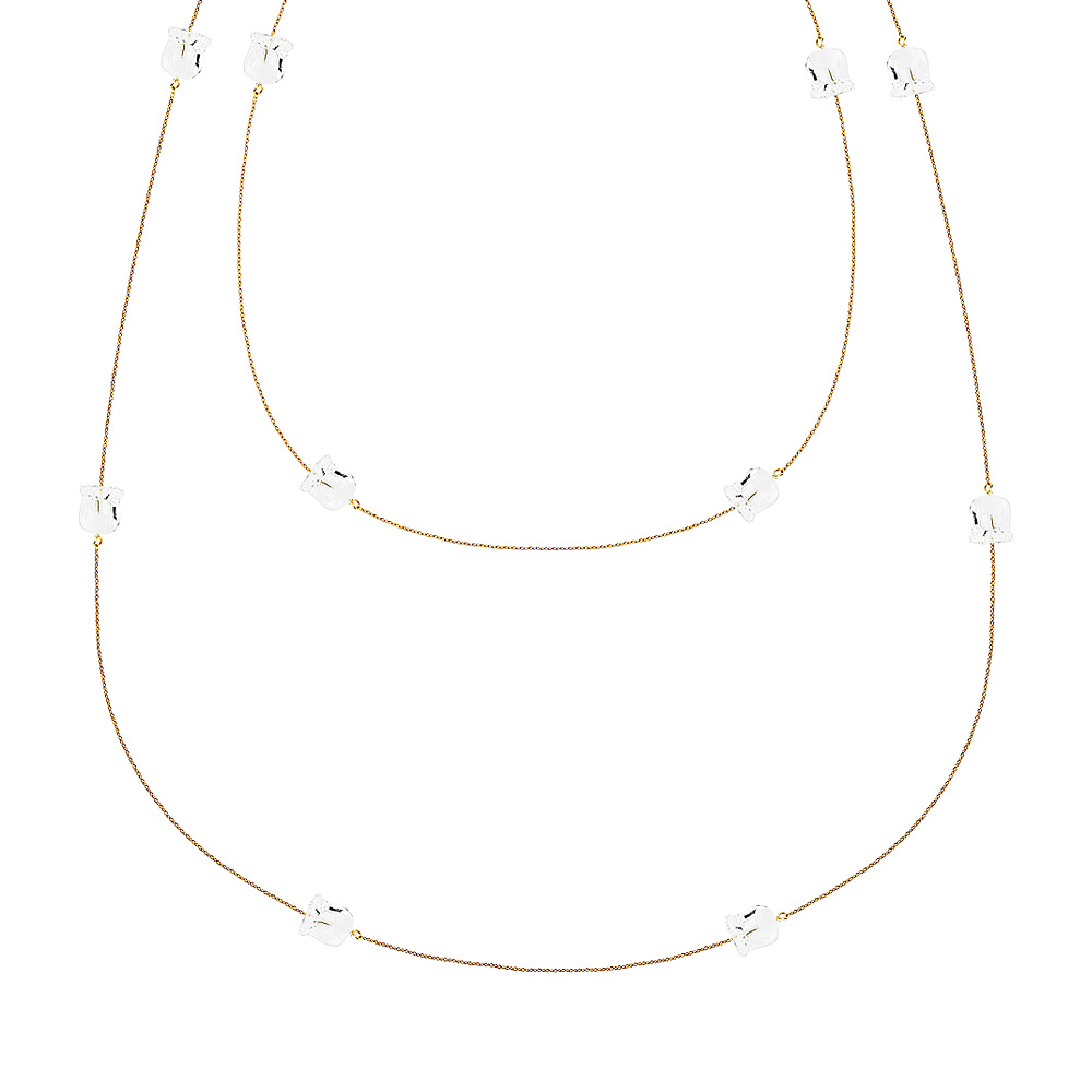 Muguet necklace | 12 clear crystals, yellow gold | Fine jewellery Lalique