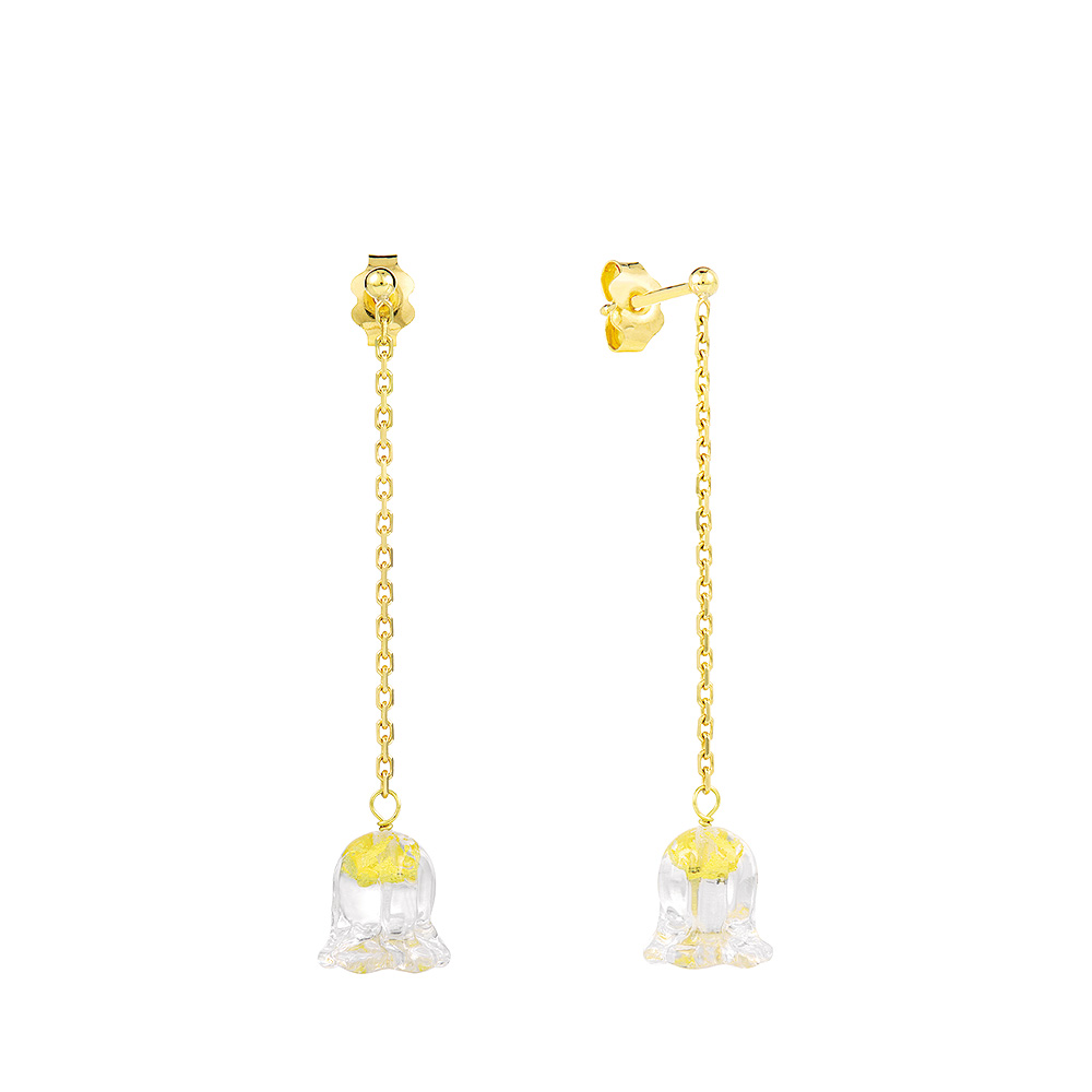 Muguet earrings | Clear crystal, yellow gold | Fine jewellery Lalique