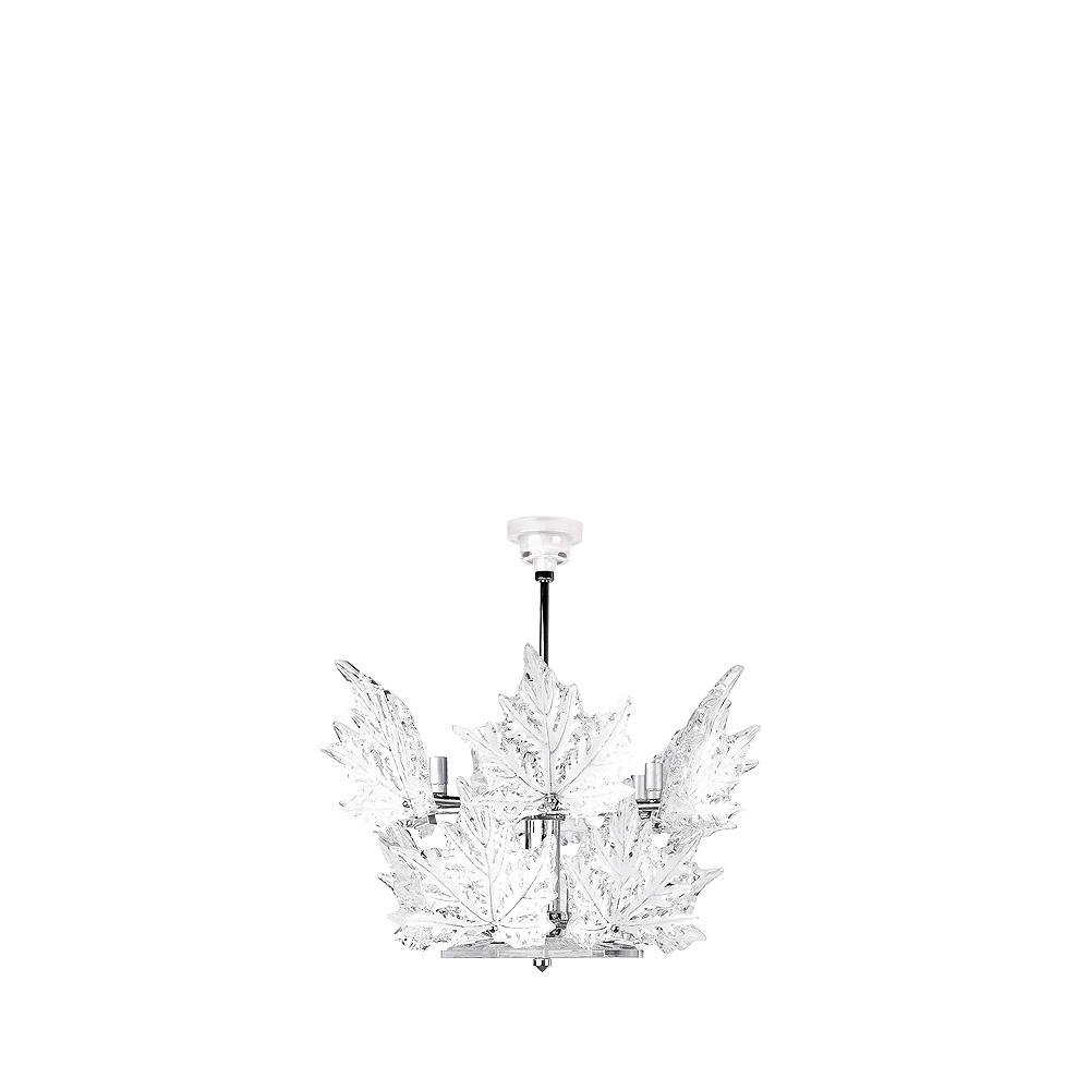 Champs-Élysées chandelier | Clear crystal, chrome finish (2 tiers) | Interior Design Lalique