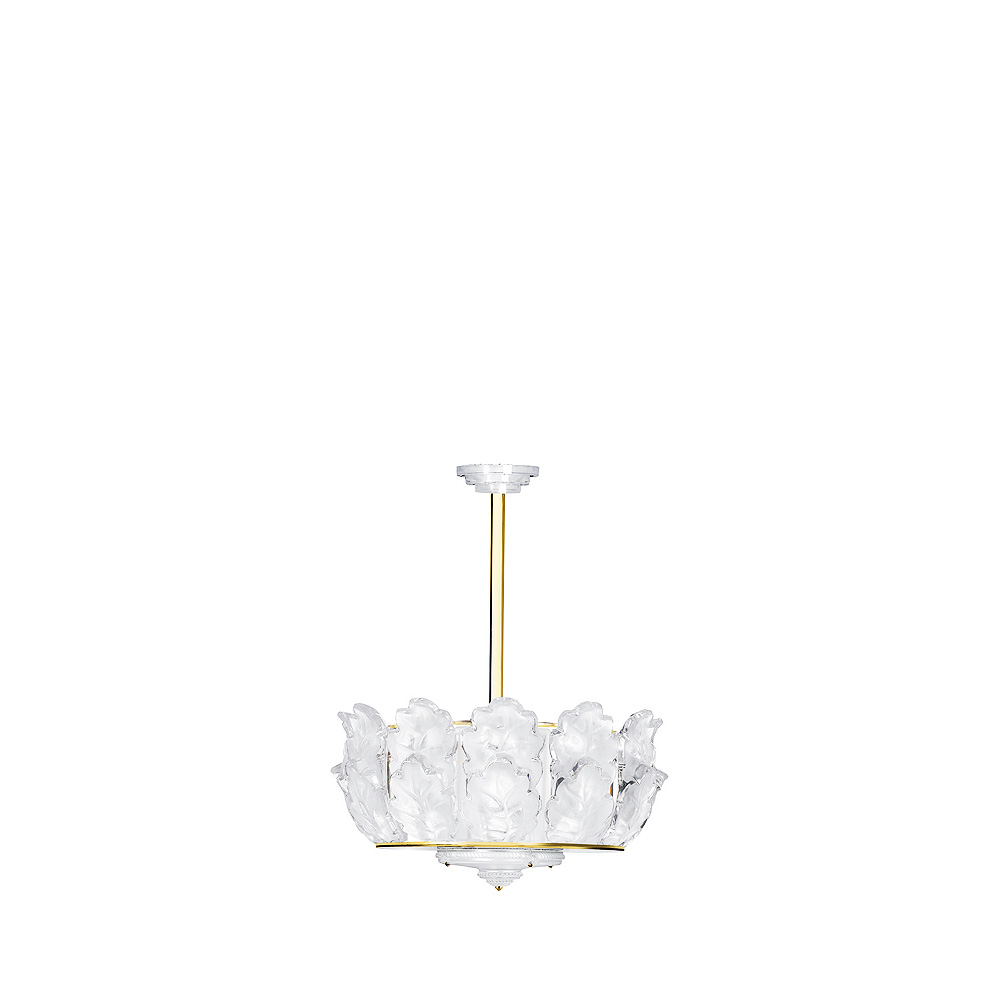 Chêne chandelier | Clear crystal, gilded finish, large size | Interior Design Lalique