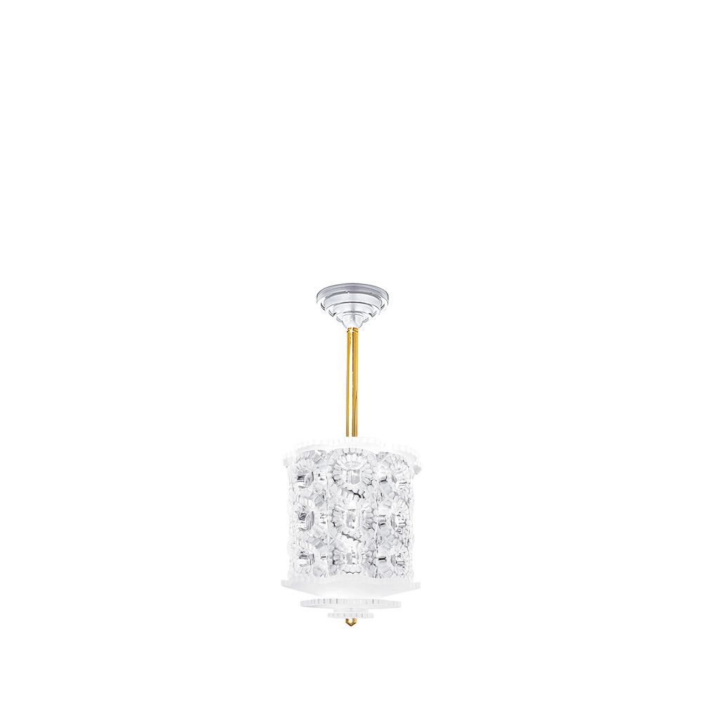 Séville chandelier | Clear crystal, gilded finish, small size | Interior Design Lalique