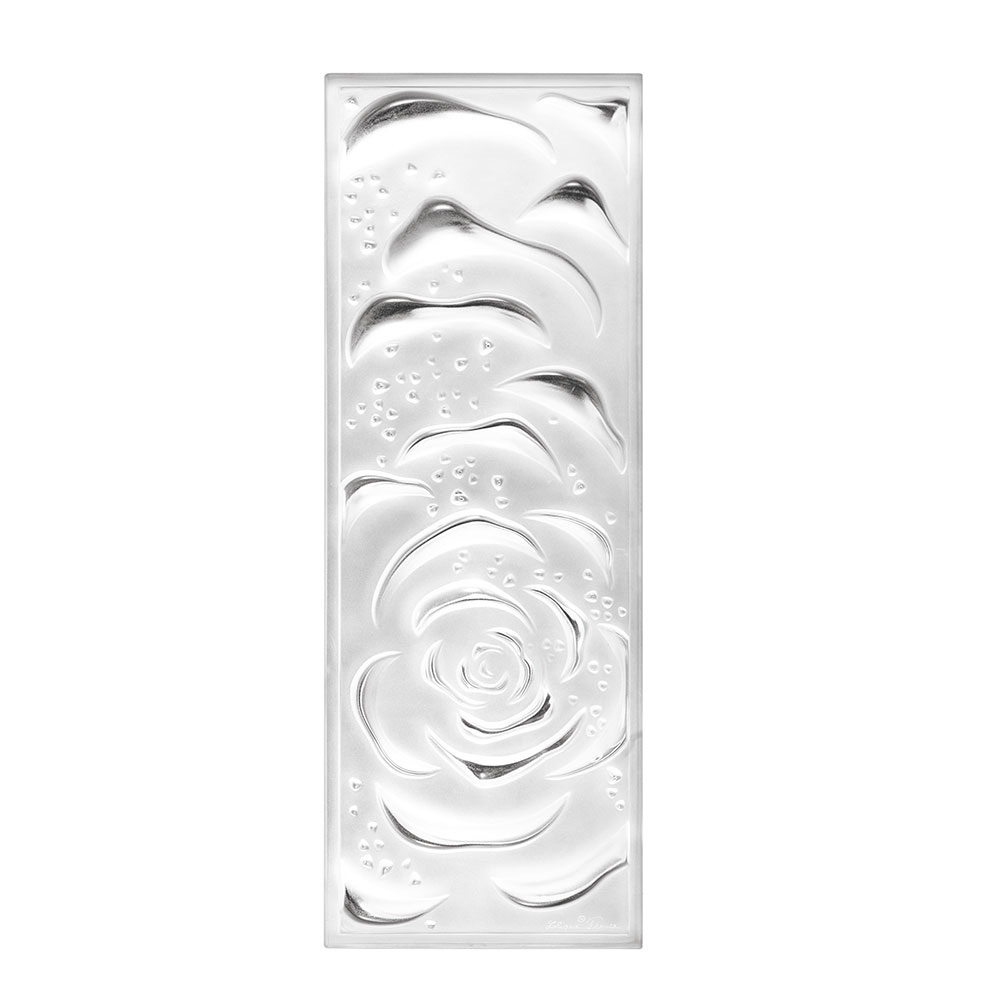 Roses decorative panel | Clear crystal, large size | Interior Design Lalique
