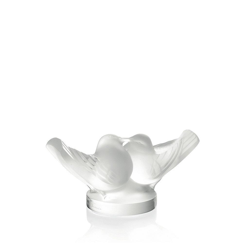 2 Lovebirds sculpture   Clear crystal, large size   Sculpture Lalique