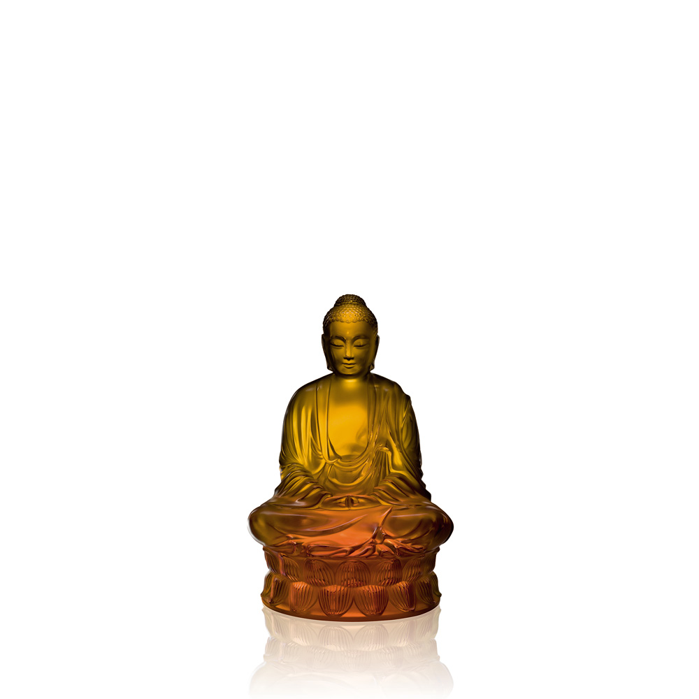 Small Buddha sculpture | Amber crystal | Sculpture Lalique