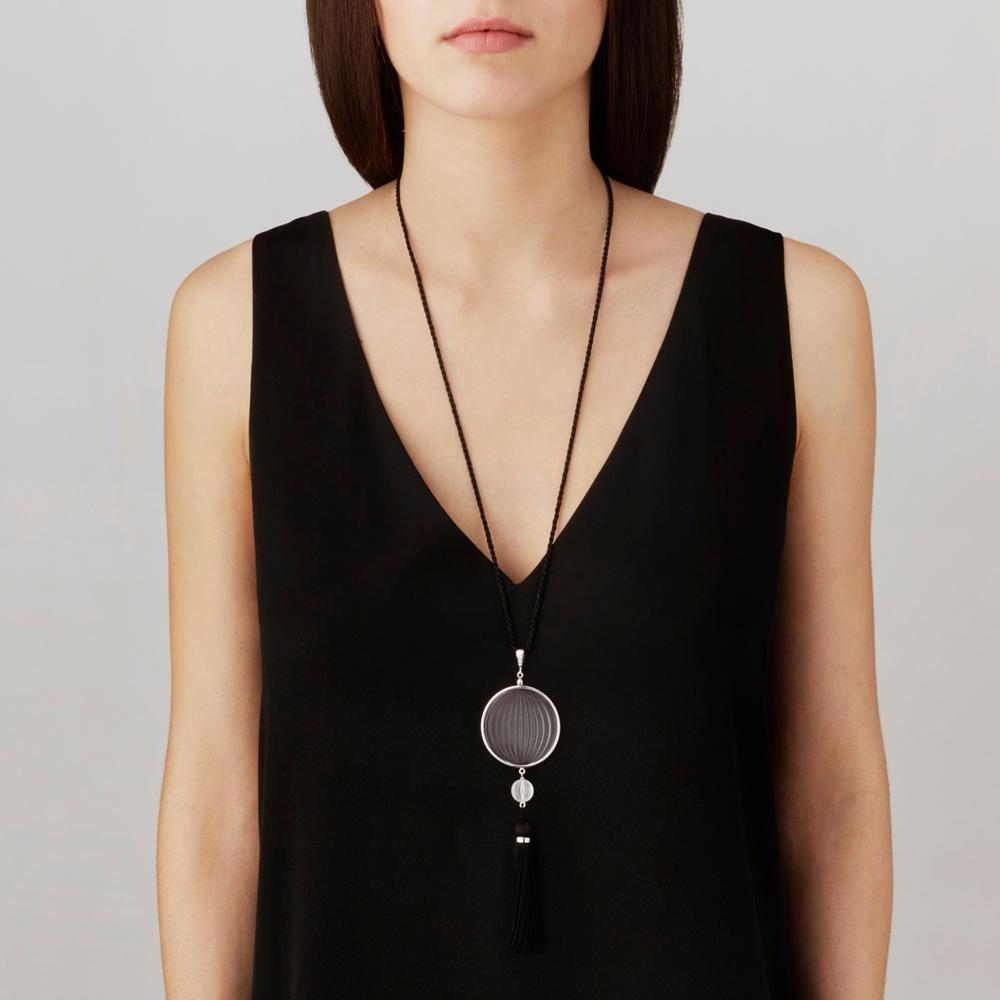 Vibrante pendant | Clear crystal, diamonds, silver | Costume jewellery Lalique