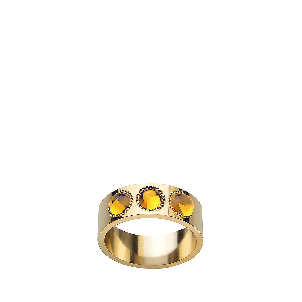Pétillante ring | 3 amber crystals, yellow gold | Fine jewellery Lalique