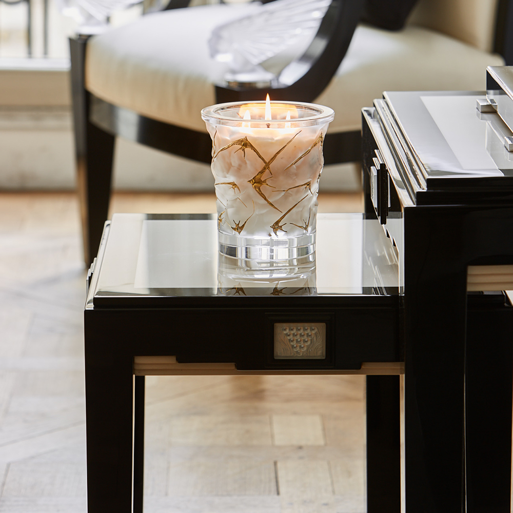 Raisins side table | Numbered edition, clear crystal, black lacquered and ivory ash, large size | Side table Lalique