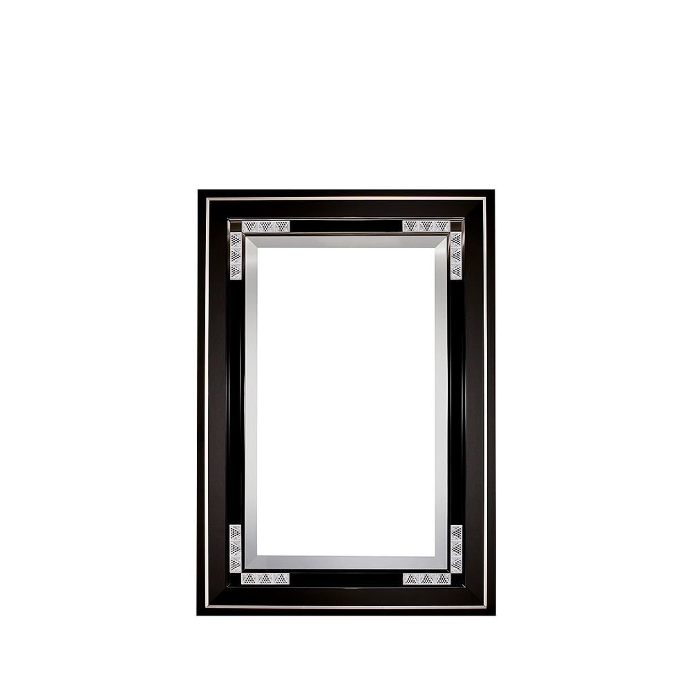 Raisins mirror | Numbered edition, clear crystal and black lacquered | Mirror Lalique
