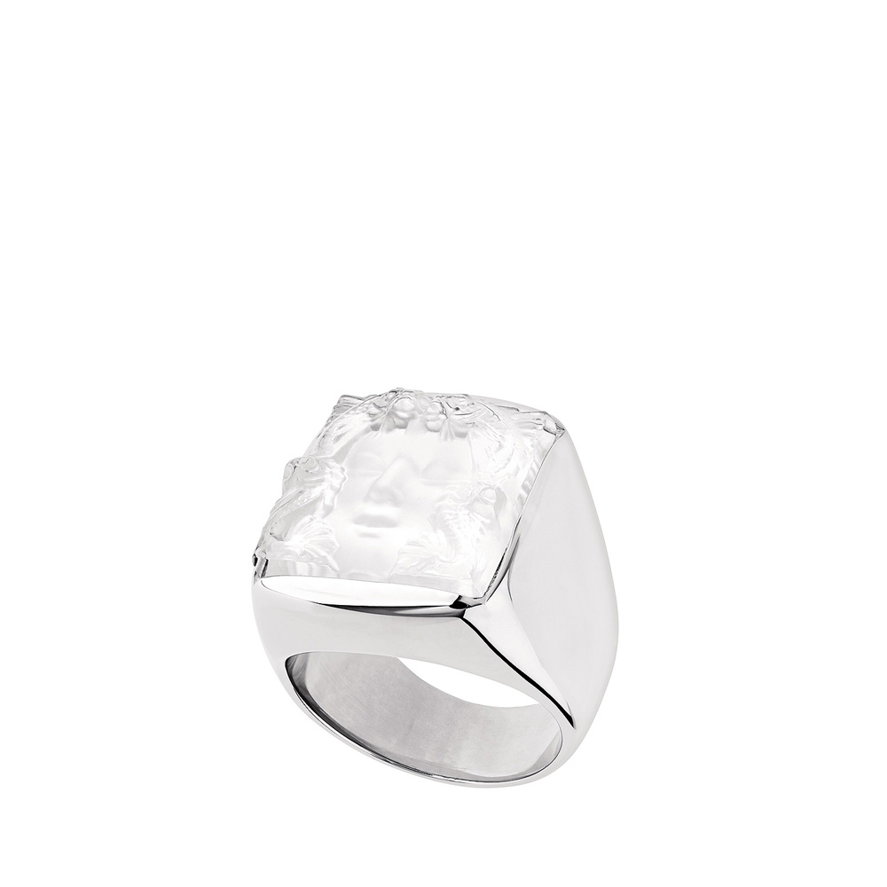 Aréthuse signet ring | Clear crystal, silver | Costume jewellery Lalique