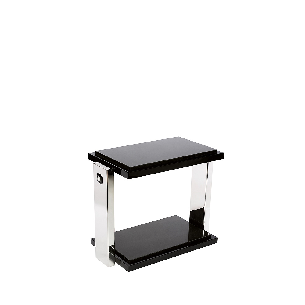 Masque de Femme side table | Numbered edition, clear crystal, black lacquered and polished steel wtih black granite top | Side table Lalique