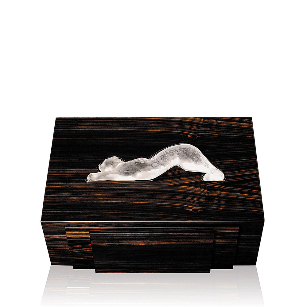 Zeila cigars box | Numbered edition, natural ebony with clear crystal, 70 cigars | Cigars box Lalique