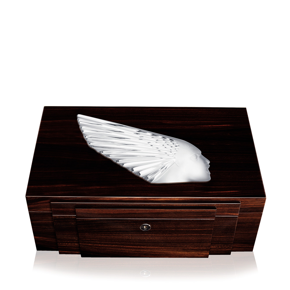 Victoire jewellery box | Numbered edition, natural ebony with clear crystal, large size | Box Lalique