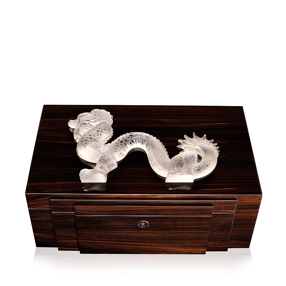 Dragon jewellery box | Natural ebony with clear crystal, large size | Box Lalique