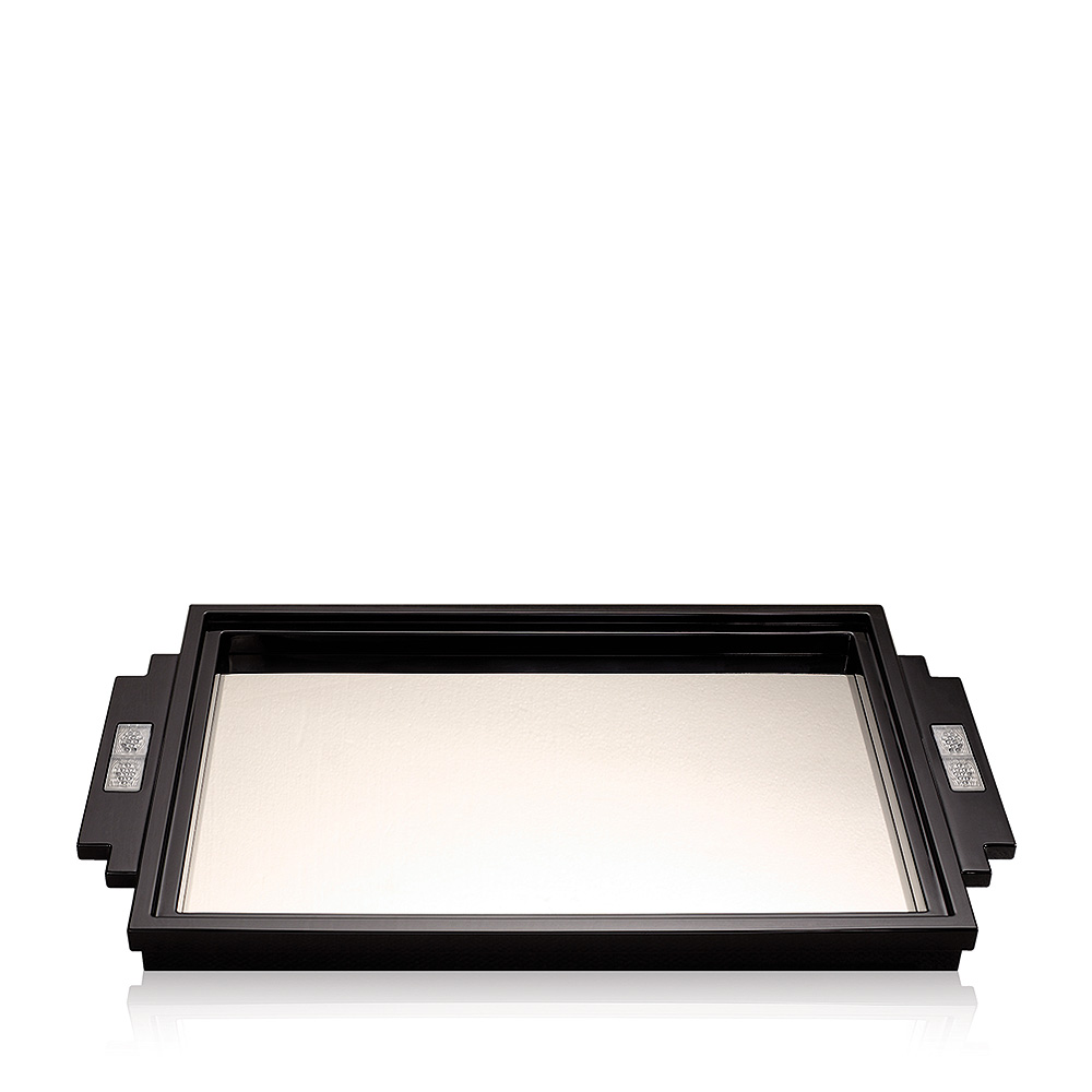 Raisins tray   Numbered edition, black lacquered with clear crystal   Tray Lalique