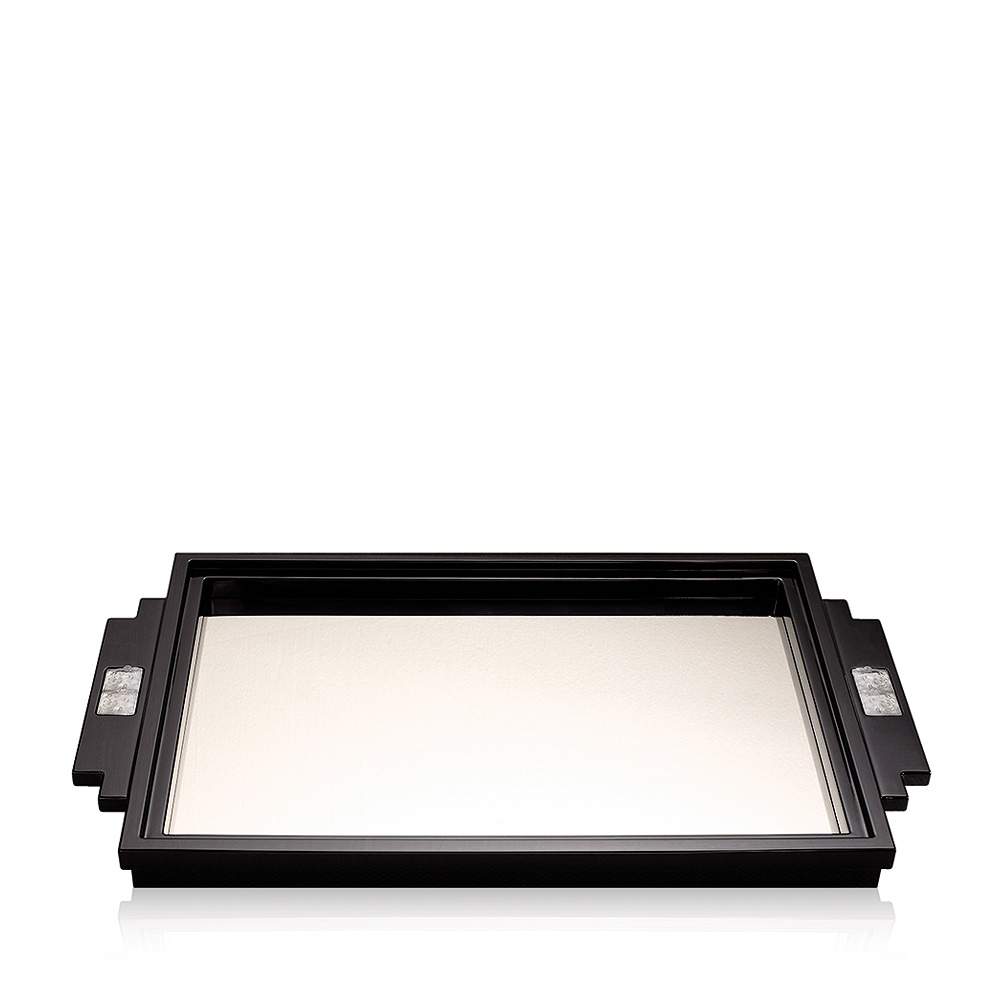 Masque de Femme tray | Numbered edition, black lacquered with clear crystal | Tray Lalique