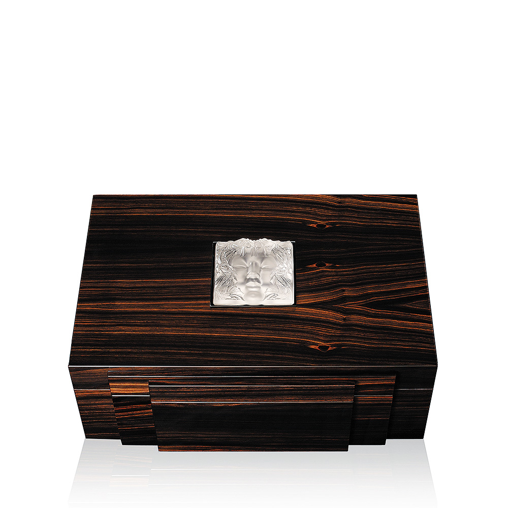 Masque de Femme cigars box | Numbered edition, natural ebony with clear crystal, 70 cigars | Cigars box Lalique