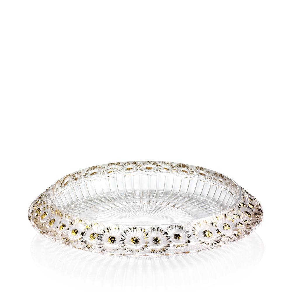 Marguerites bowl | Clear crystal, gold stamped| Bowl Lalique