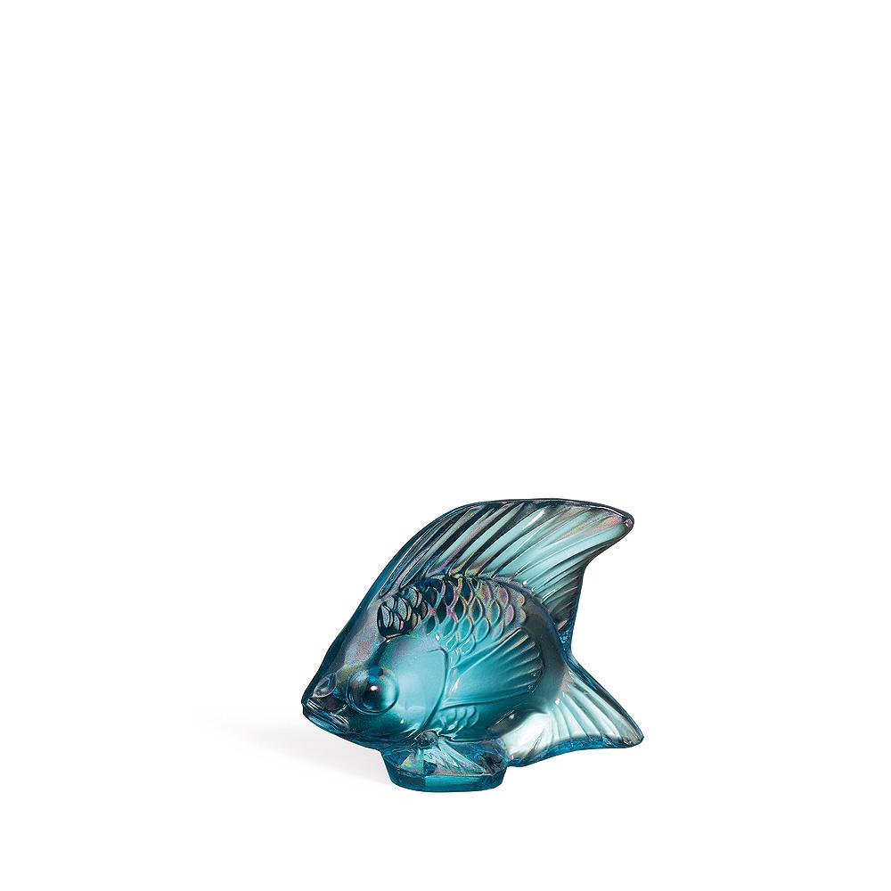 Sculpture Poisson | Cristal turquoise lustré | Sculpture Lalique