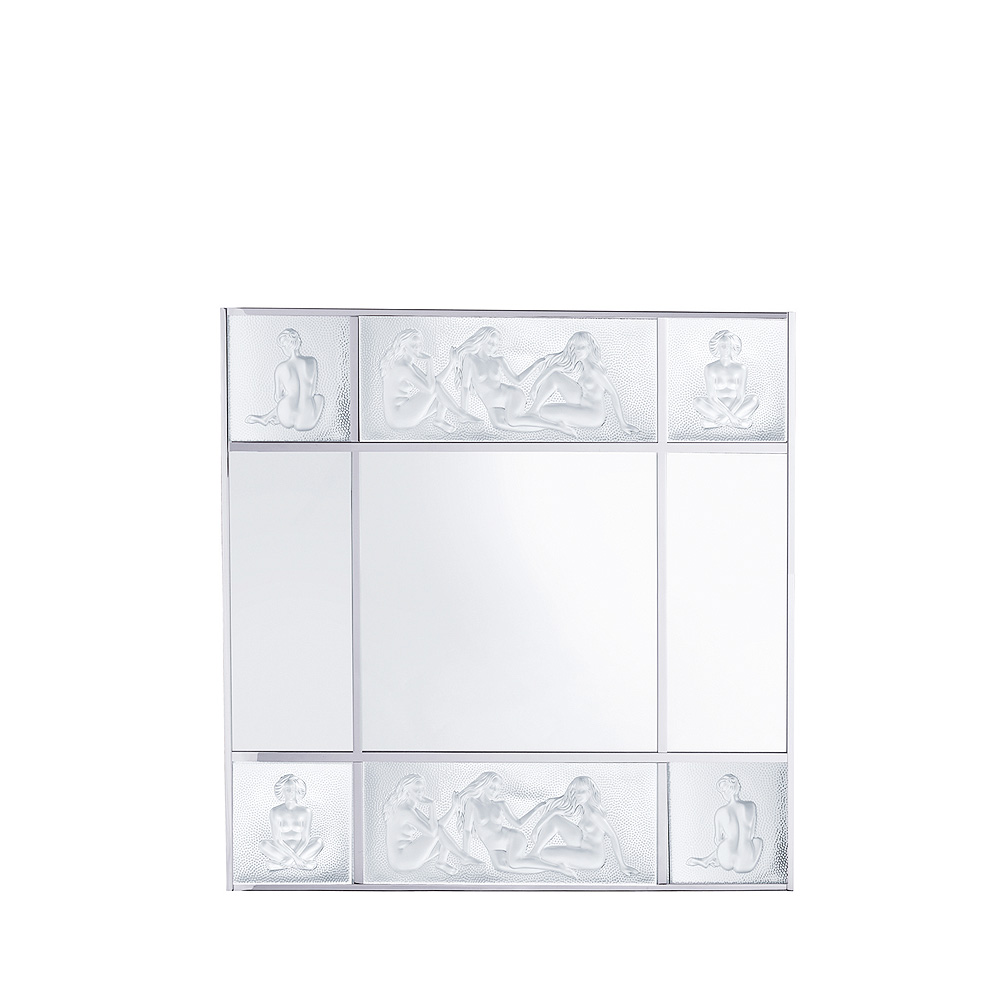 Les Causeuses mirror   Clear crystal, chrome finish, large size   Interior Design Lalique