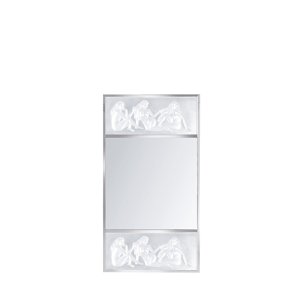 Les Causeuses mirror | Clear crystal, chrome finish, medium size | Interior Design Lalique