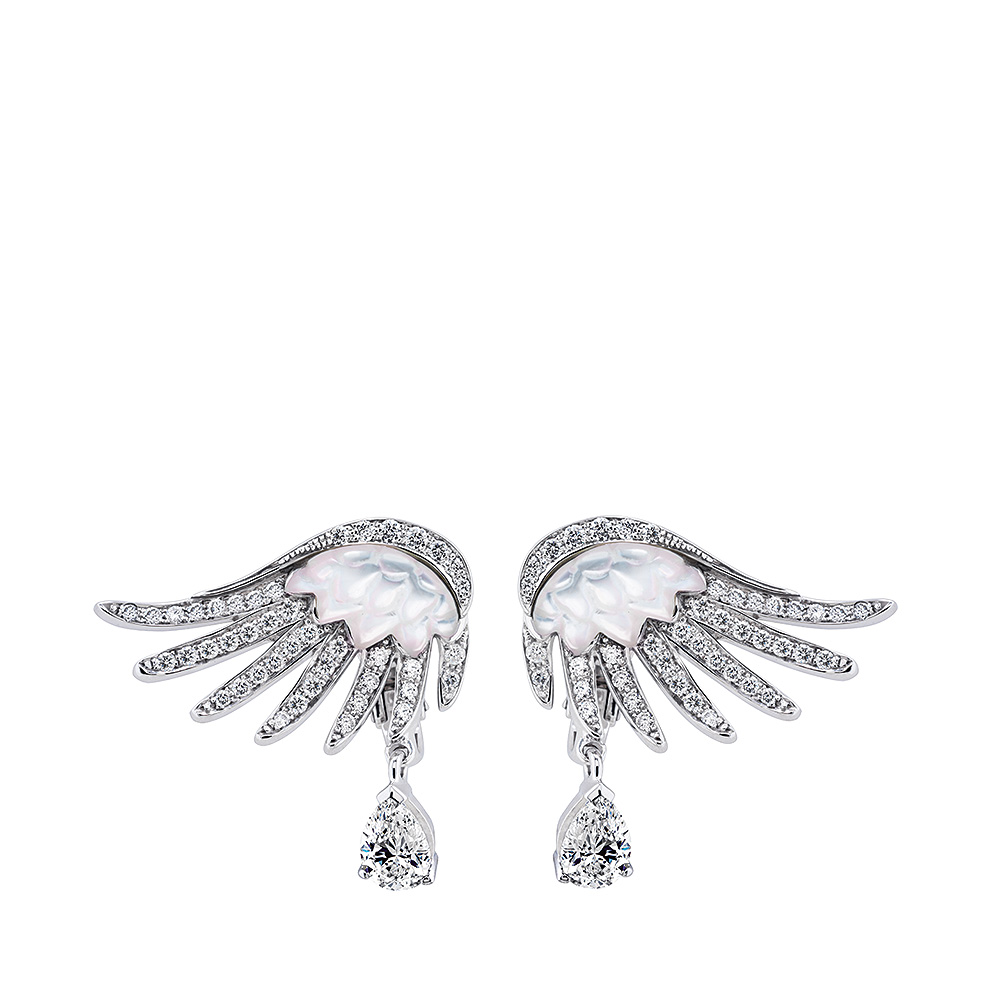 Vesta earrings, large | Mother of pearls, diamonds, white gold | Fine jewellery Lalique