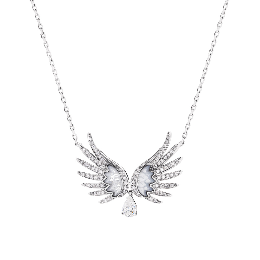 VESTA NECKLACE, LARGE | WHITE GOLD,DIAMONDS, MOTHER-OF-PEARL | Fine jewellery Lalique