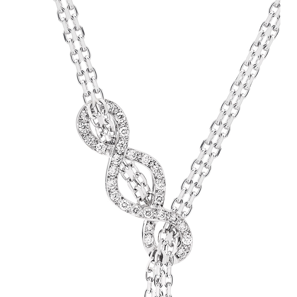 Ardente necklace | Diamonds, white gold, silver | Fine jewellery Lalique