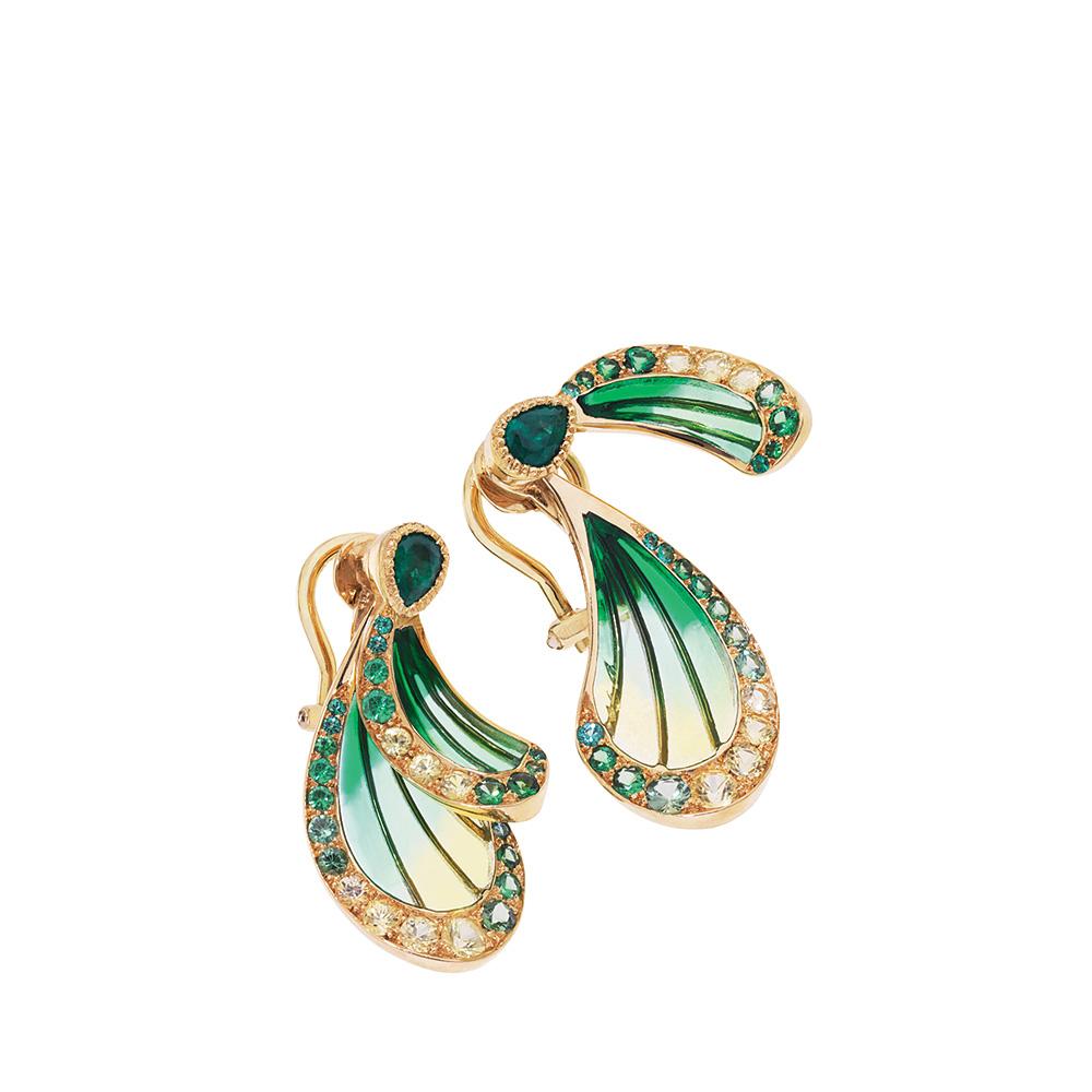 Libellule earrings | Emeralds, yellow gold | Fine jewellery Lalique