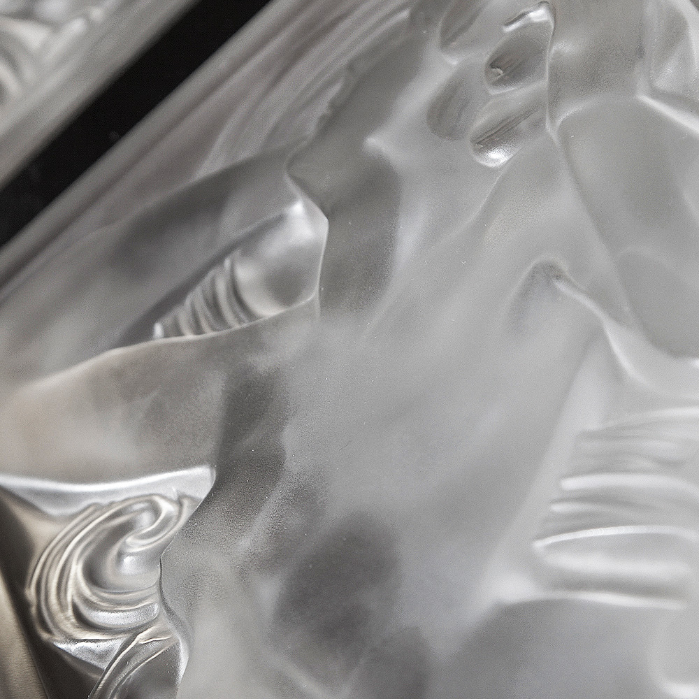 Femme Tête Levée decorative panel | Clear crystal | Interior Design Lalique