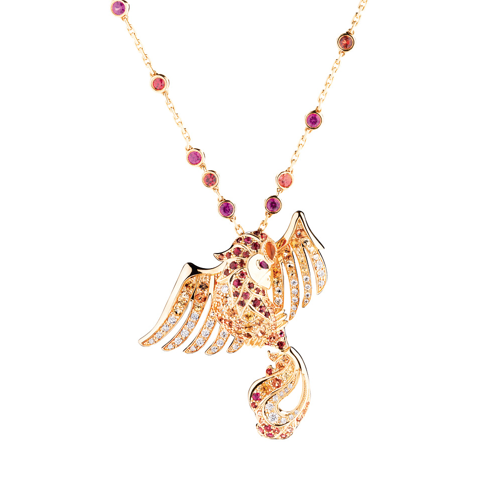 Phoenix pendant | Fire opal, rubies, sapphires and diamonds, yellow gold | Fine jewellery Lalique