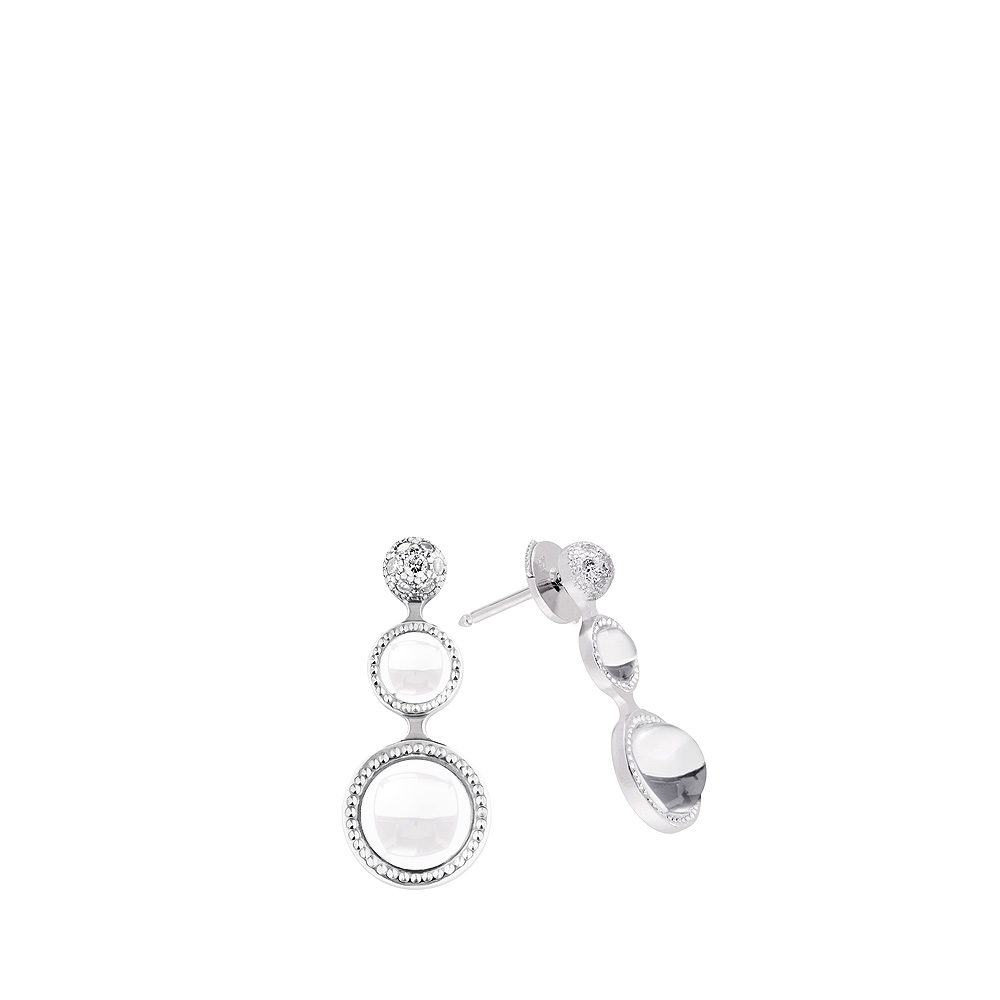 Pétillante earrings | Clear crystal, silver | Costume jewellery Lalique
