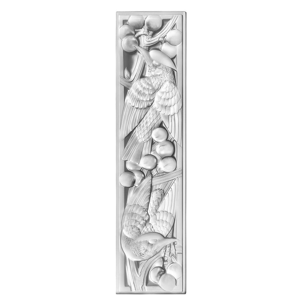 Merles et Raisins decorative panel   Clear crystal, small size, right side   Interior Design Lalique