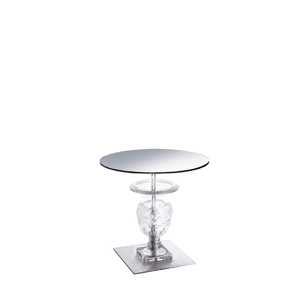 Versailles pedestal table | Clear crystal, brushed stainless steel | Interior Design Lalique