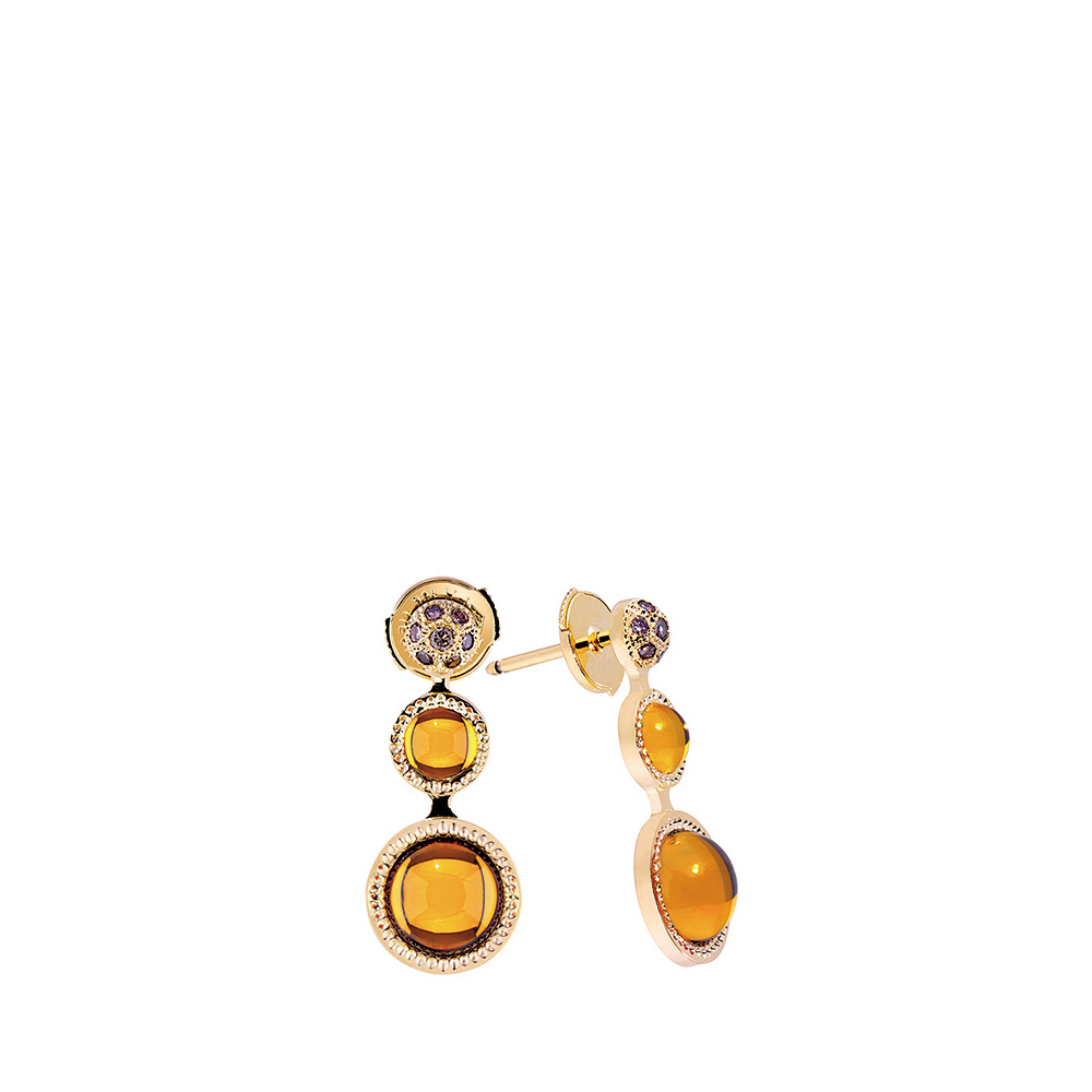 Pétillante earrings | Amber crystal, yellow gold | Fine jewellery Lalique