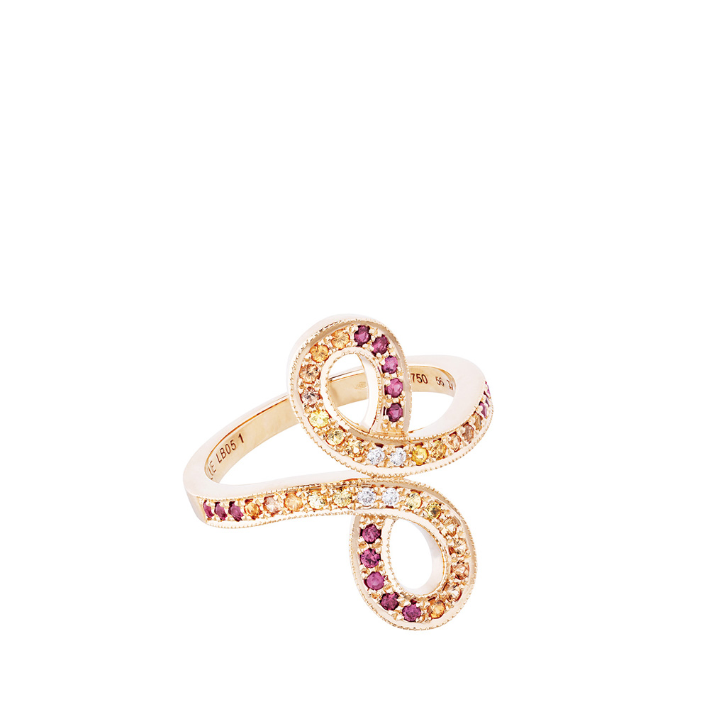 Ardente ring   Sapphires, diamonds, red gold   Fine jewellery Lalique