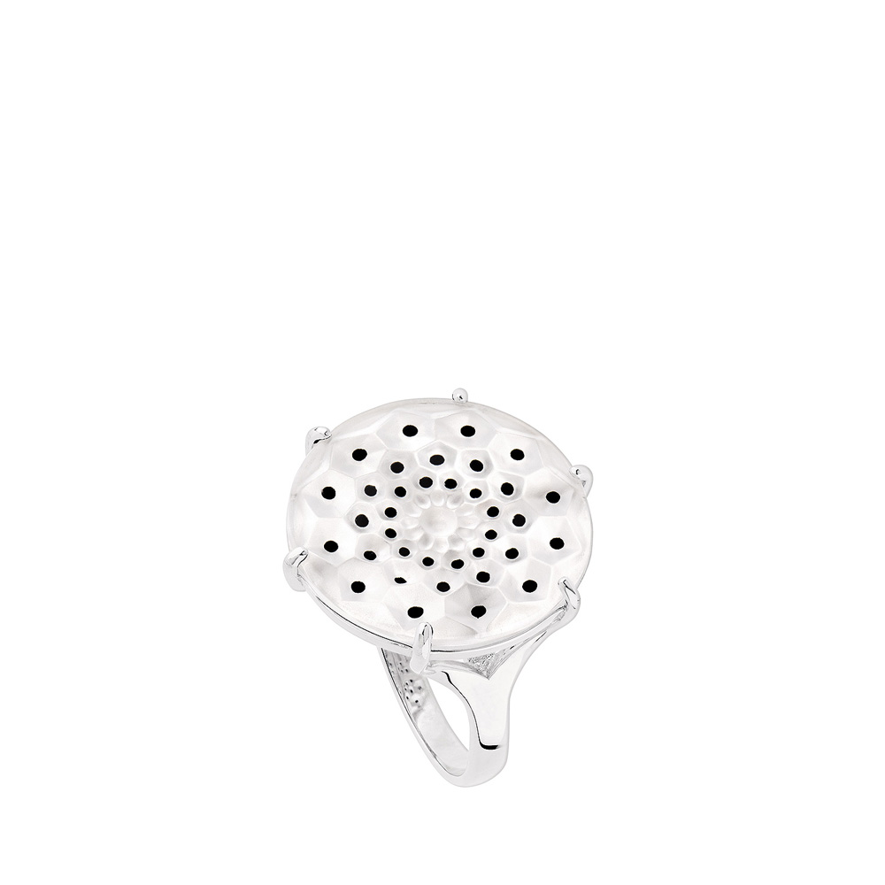 Cactus ring | Clear crystal, silver | Costume jewellery Lalique