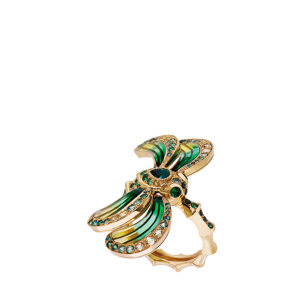 Libellule ring | Emeralds, tsavorites, yellow sapphires, yellow gold | Fine jewellery Lalique