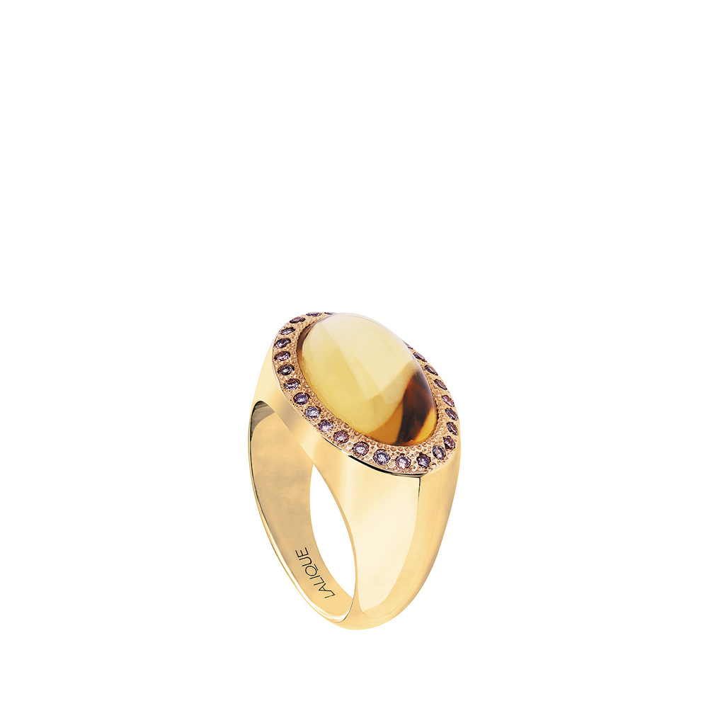Pétillante ring | Amber crystal cabochon, diamonds, yellow gold | Fine jewellery Lalique