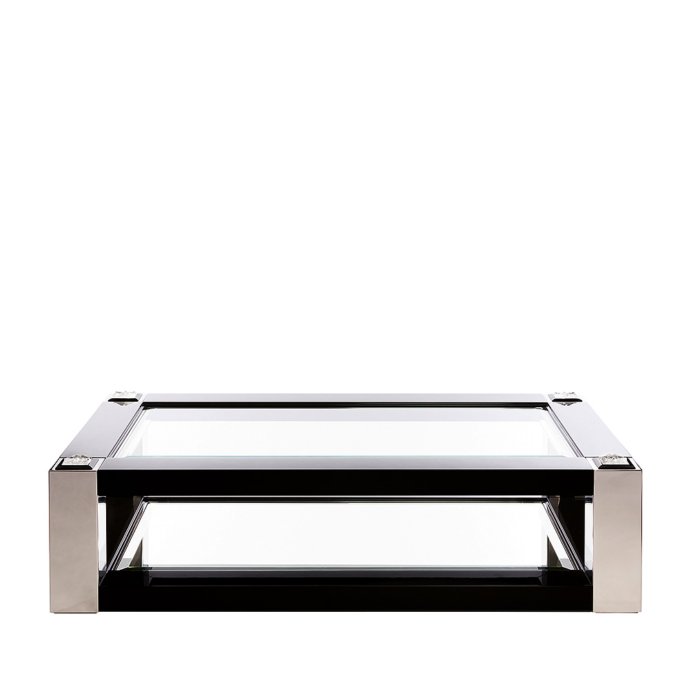 Masque de Femme coffee table | Numbered edition, clear crystal, black lacquered and polished steel | Coffee table Lalique