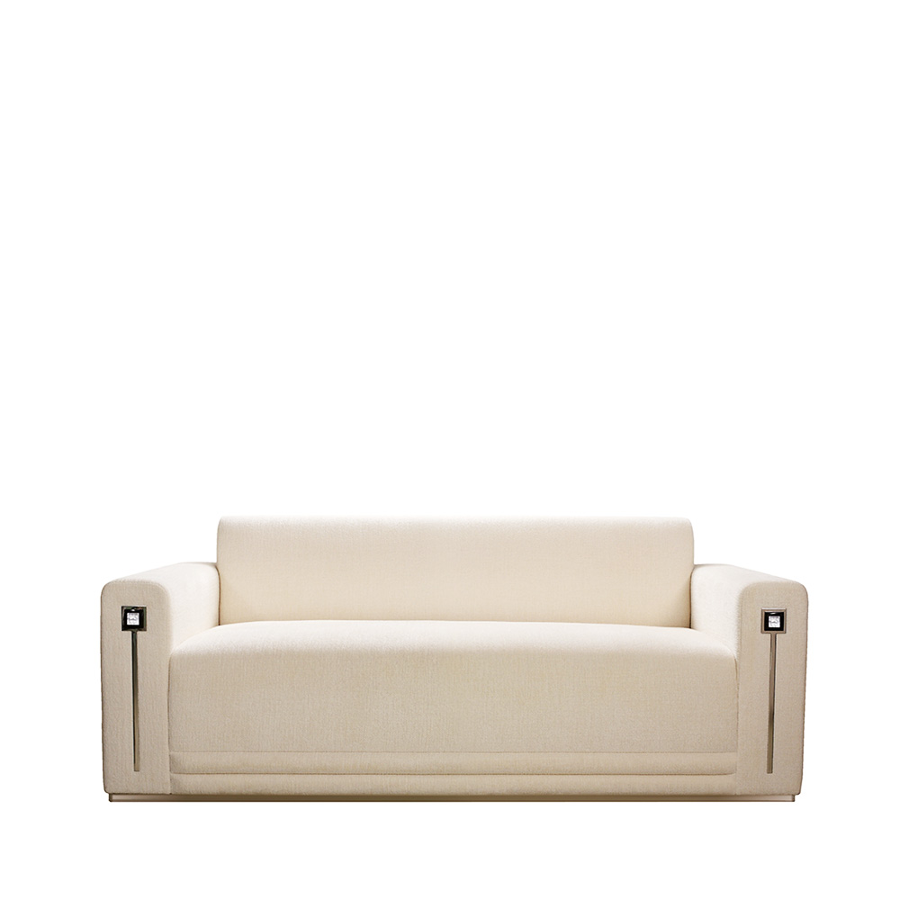 Masque de Femme contemporary sofa | Numbered edition, clear crystal and ivory silk, small size | Sofa Lalique