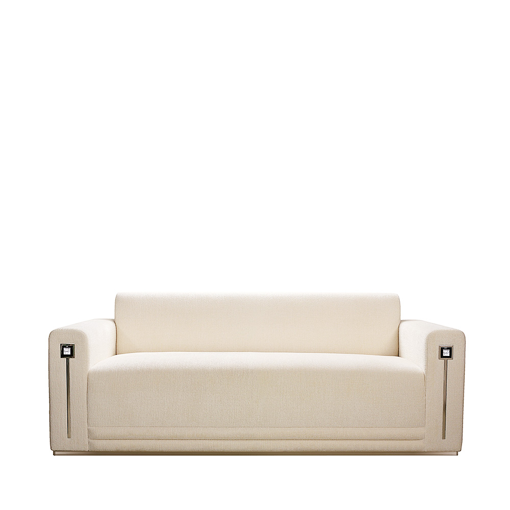 Masque de Femme contemporary sofa | Numbered edition, clear crystal and ivory silk, medium size | Sofa Lalique