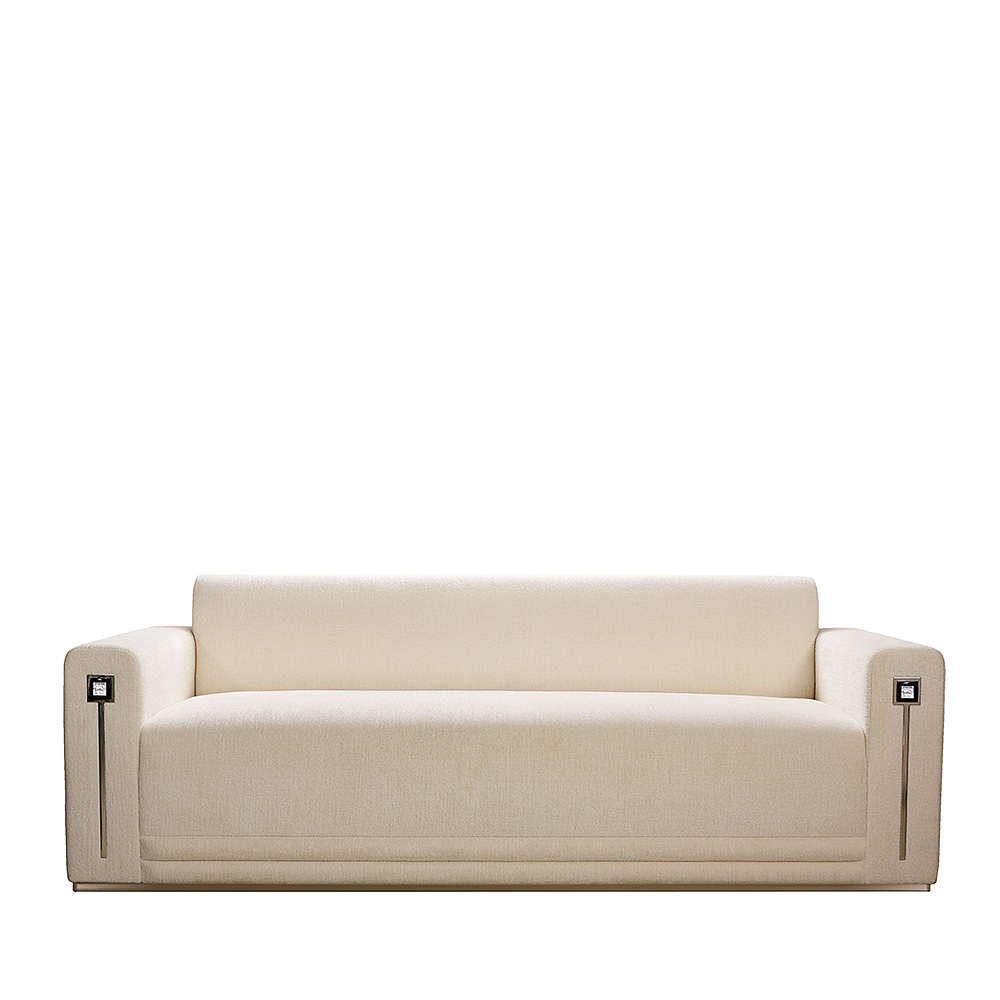 Masque de Femme contemporary sofa | Numbered edition, clear crystal and ivory silk, large size | Sofa Lalique